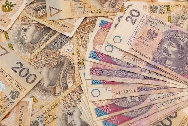 Polish money zloty, 20 50 200 pln. financial concept