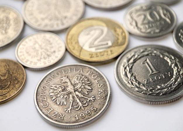 흰색 배경에 폴란드어 즐로티 동전입니다. 사진을 닫습니다.