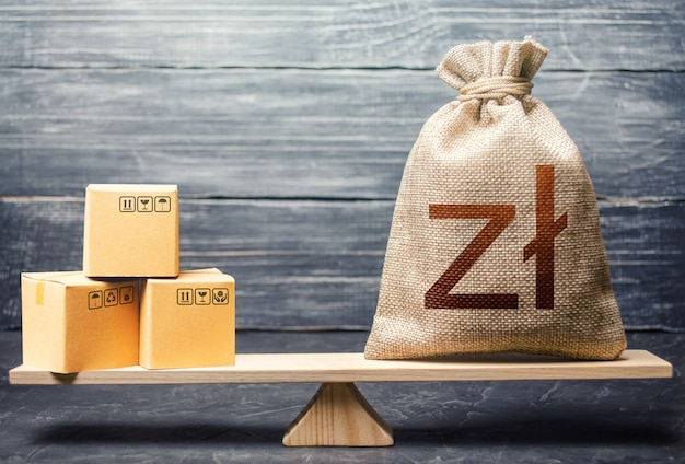Polish zloty money bag and boxes. market price regulation. trade balance, buying and selling goods