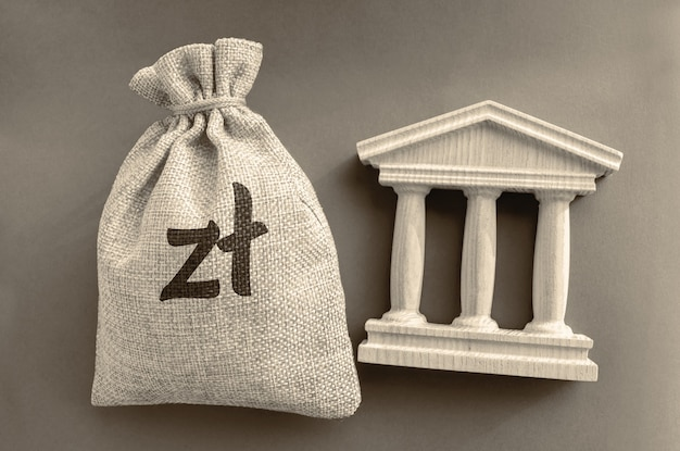 Polish zloty money bag and government building