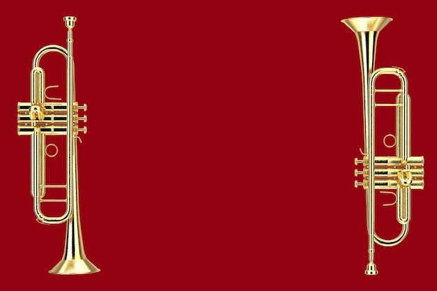 빨간색 배경에 세련된 황동 트럼펫입니다. 3d 렌더링