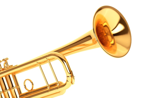 흰색 배경에 세련된 황동 트럼펫