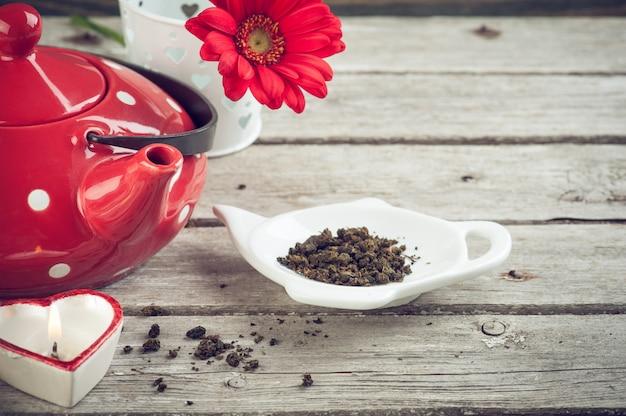 水玉紅茶ポット、茶葉