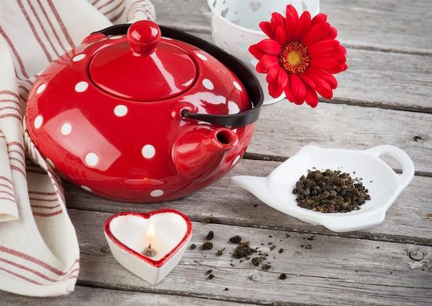 Polka dot red tea pot