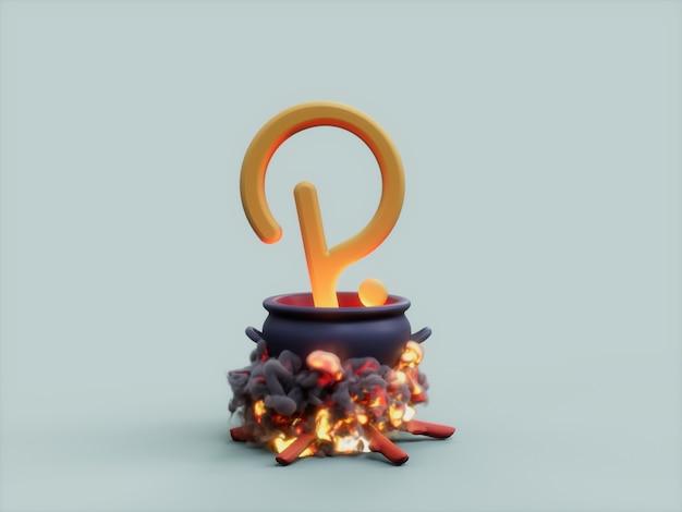 Polkadot 가마솥 화재 요리사 암호화 통화 3d 그림 렌더링