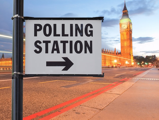 Polling station sign in london