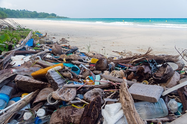 Pollution on the beach of tropical sea. plastic garbage, foam, wood and dirty waste on beach in summer day.