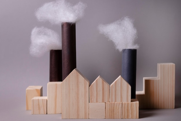 공장 배출과 함께 오염 개념