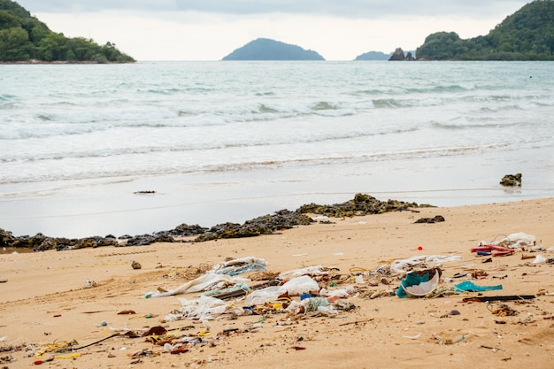 汚染:浜辺のゴミ、プラスチック、廃棄物