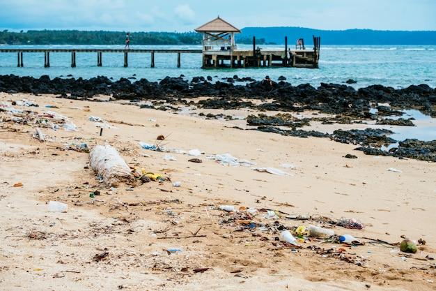 汚染:ビーチのゴミ、プラスチック、廃棄物