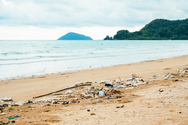 Pollution: garbages, plastic, and wastes on the beach
