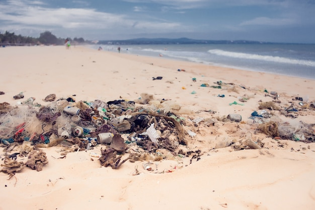 海とビーチの汚染とゴミ