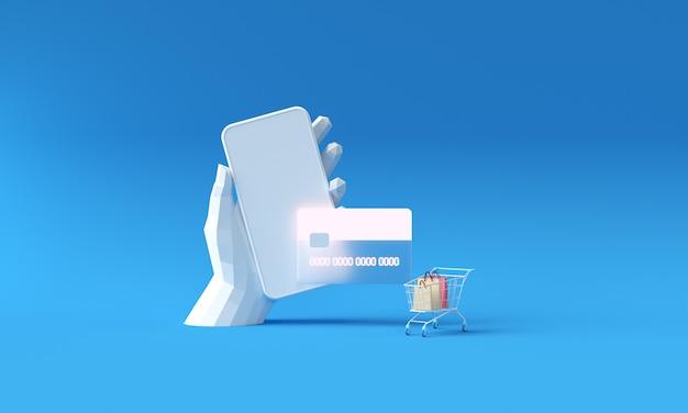 電話とクレジットカードの概念を介して支払いを持っているポリ手。電話で安全なオンライン決済取引。クレジットカードによるインターネットバンキング。モバイルを介したショッピングのワイヤレス支払いの保護。