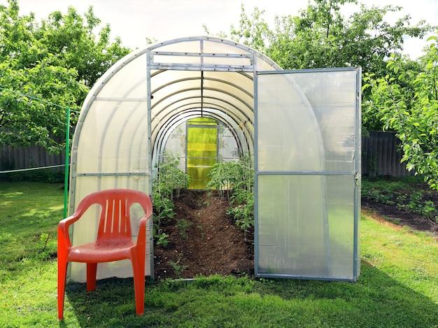 Polycarbonate greenhouse with open door in wellkept garden