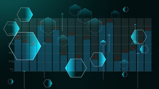 Polygon futuristic relations of small and big hexagons on graph bar with top point sign background