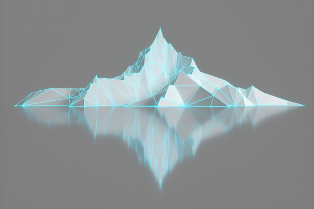 Polygon image of mountain peaks with a glowing backlit
