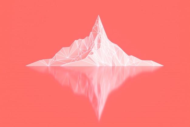 輝くバックライト付き3dイラストの山頂のポリゴン画像