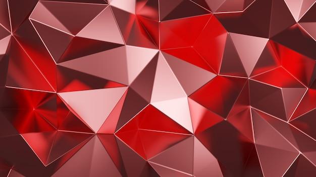 다각형 모양 색 빨간색 금속 기하학적 추상 배경입니다.