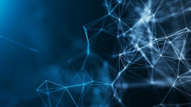 多角形の抽象的な形のネットワーク接続ビッグデータの概念を青色で