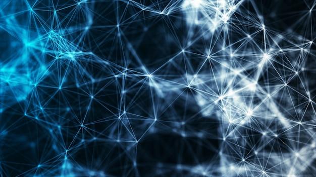 多角形の抽象的なテクノロジーがネットワーク接続のビッグデータの概念を形作る