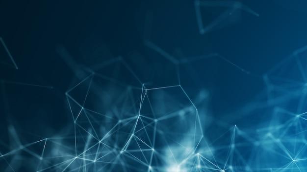 多角形の青い抽象的な背景は、ネットワーク神経接続ビッグデータ神経概念を形作ります