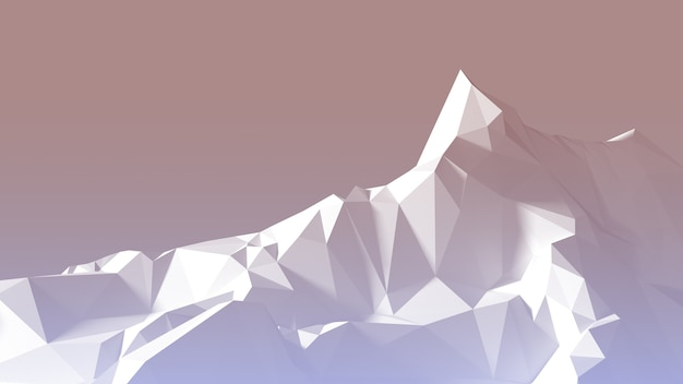 Polygonal image mountainous terrain at sunrise. 3d illustration