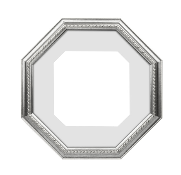 Polygonal silver picture frame, photo frame isolated on white background. with clipping path