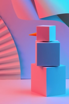 네온 빛으로 조명 큐브의 다각형 눈사람