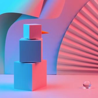 Многоугольный снеговик из кубиков подсвечивается неоновым светом
