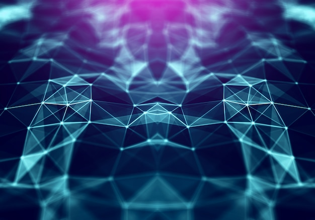 Polygonal space low poly background with triangles