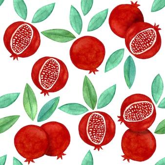Pomegranate elegant seamless pattern white