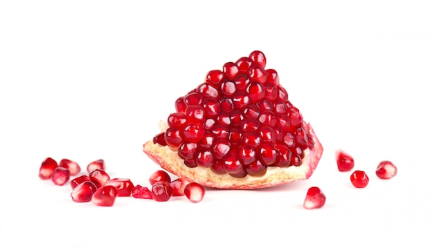 Pomegranate isolated on white space. macro.