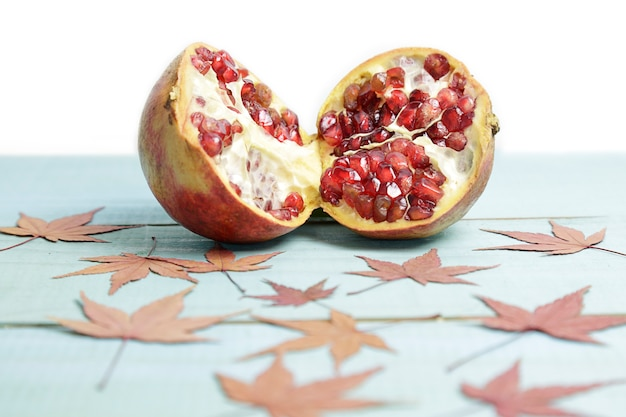 Pomegranate punica granatum divided in two halves