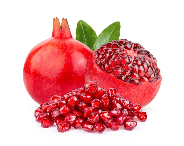 Pomegranate with leaf isolated on white.