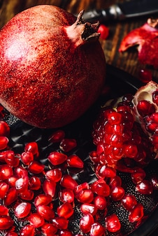 Pomegranate with ruby seeds.