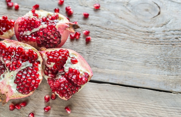 Pomegranate on the wooden table