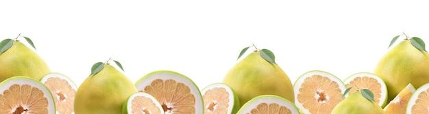 白い背景の上のザボンの果実
