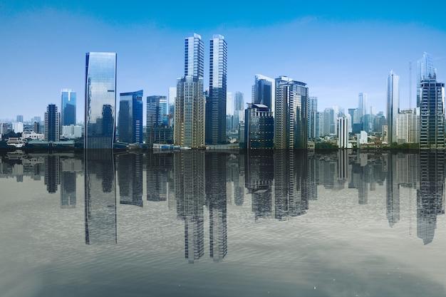 푸른 하늘 배경으로 현대적인 건물과 고층 빌딩보기 연못