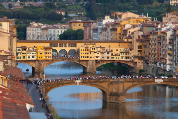 The ponte vecchio at sunset, in florence.