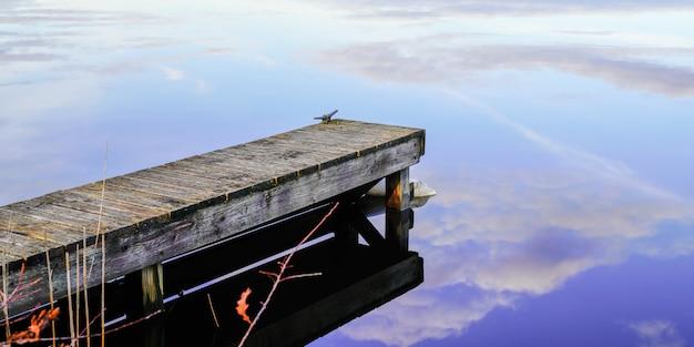 Pontoon wood jetty on blue water lake in header web banner