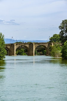 Pontvieux old bridge xiv century spans over river aude in the french city of carcassonne