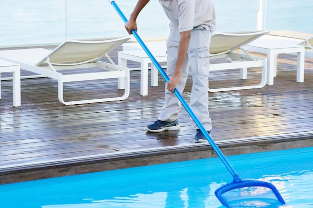 Pool cleaner during his work.