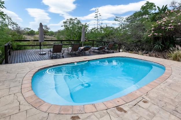 Pool maintenance at luxury lodge kruger national park