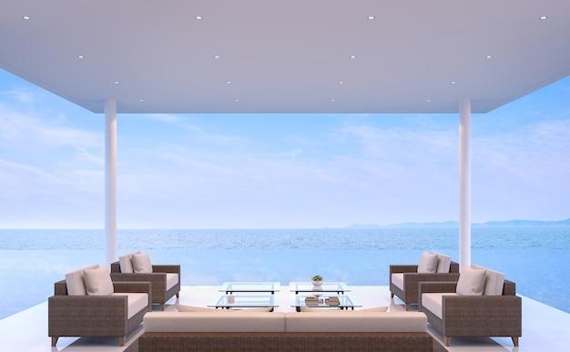 海の見える3dレンダリングを備えたプールパビリオンは、ボーダレスなスイミングプールと海の景色を見渡せます