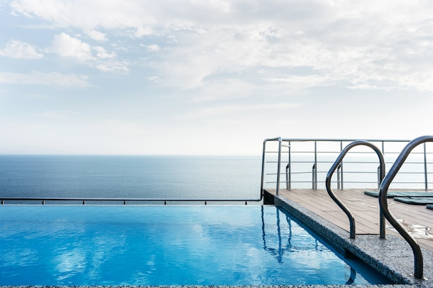 Pool on the roof of the house overlooking the sea