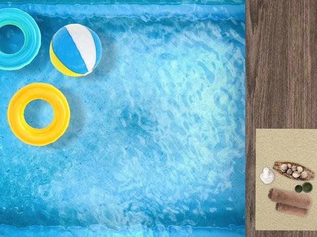 Релаксация у бассейна с плавательными кольцами, пляжным мячом в бассейне и аксессуарами для спа