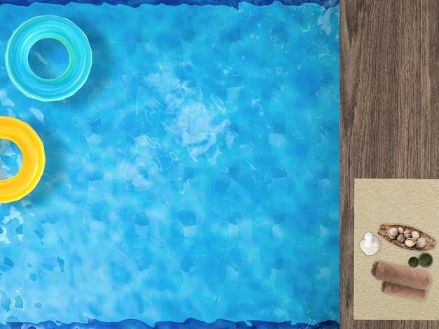 Релаксация у бассейна с плавательными кольцами в бассейне и аксессуарами для спа