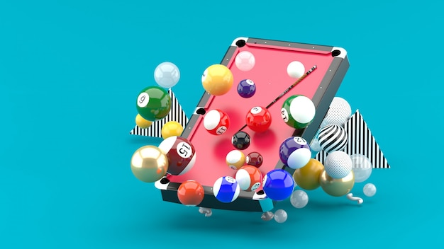 Pool table among the colorful balls on the blue. 3d rendering.