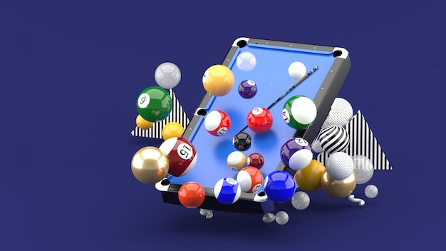 Pool table among the colorful balls on the purple. 3d rendering.