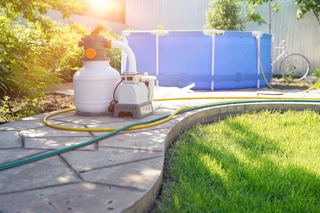 수영장 물 여과 시스템 야외 모래 펌프는 프레임 풀의 흙 먼지 및 잔해로부터 물 청소의 순도를 유지합니다.